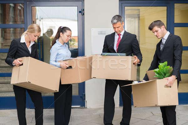Infelice cartone scatole fuori ufficio Foto d'archivio © AndreyPopov