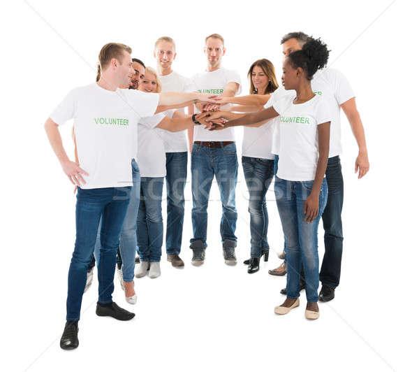 Grupo voluntários mãos em pé branco Foto stock © AndreyPopov