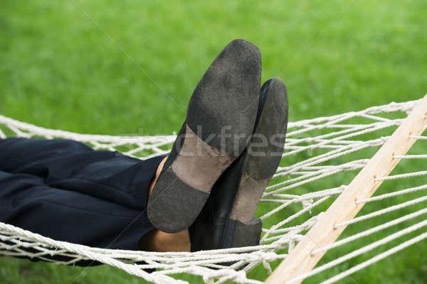 Man ontspannen hangmat tuin groene Stockfoto © AndreyPopov