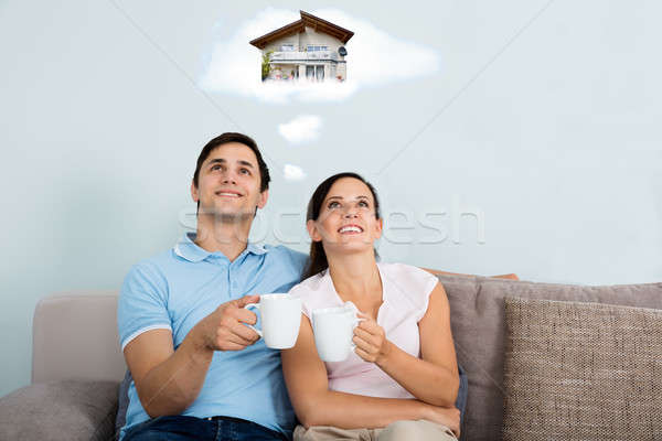 Foto stock: Pareja · futuro · casa · feliz · sesión