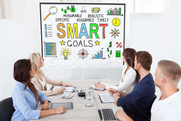 Naar smart doelen projector groep Stockfoto © AndreyPopov