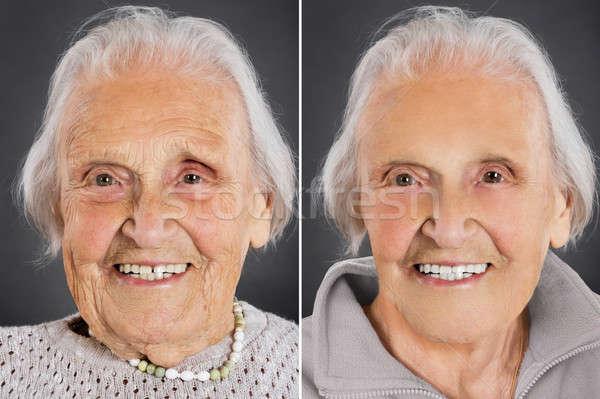 Traitement de la peau supérieurs femme vieillissement visage fond Photo stock © AndreyPopov