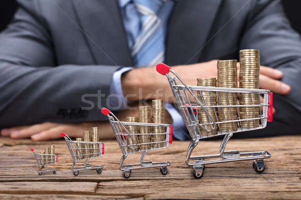 Businessman Sitting At Table With Coins In Shopping Carts Stock photo © AndreyPopov