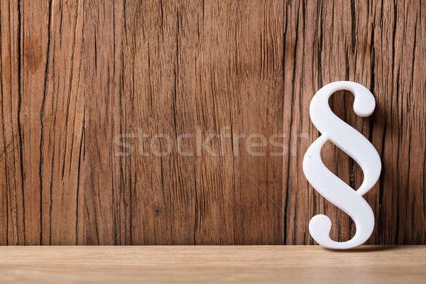Blanche paragraphe symbole bois texture Photo stock © AndreyPopov