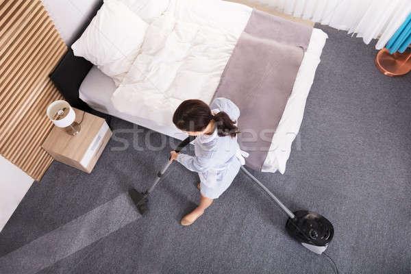 女性 洗浄 カーペット 真空掃除機 ストックフォト © AndreyPopov