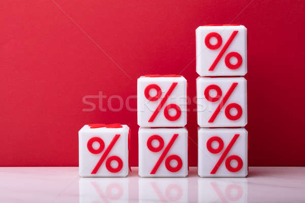 Stack Of Increasing Cubic Blocks With Percentage Symbol Stock photo © AndreyPopov