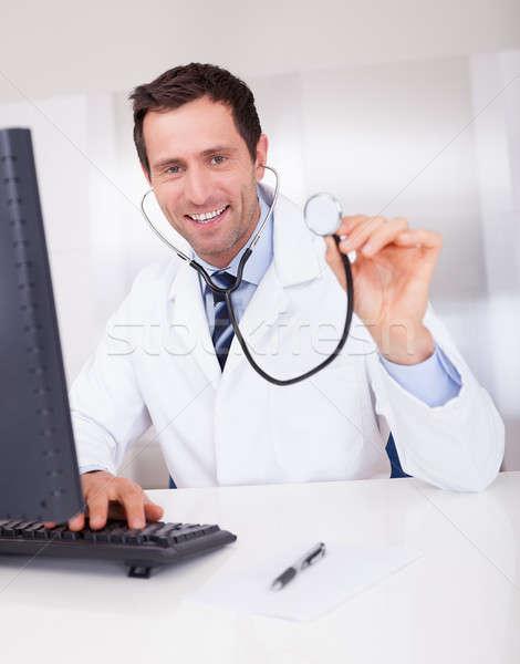 Portre erkek doktor stetoskop tıbbi doktor Stok fotoğraf © AndreyPopov