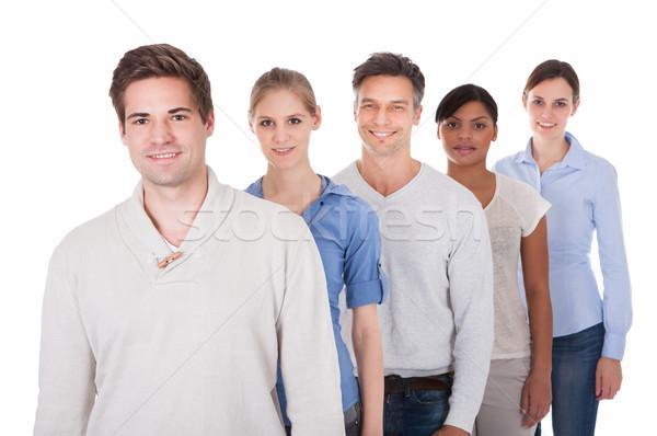 Stockfoto: Groep · mensen · glimlachend · rij · witte · glimlach · gelukkig
