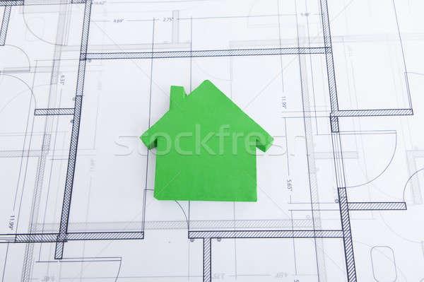 Green House Model On Blueprint Stock photo © AndreyPopov