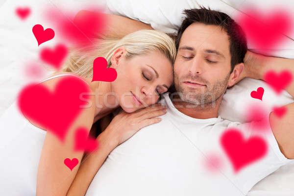 Liebevoll schlafen Bett digital composite Bild Stock foto © AndreyPopov