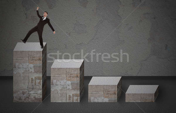 Businessman Falling From Bar Graph Stock photo © AndreyPopov