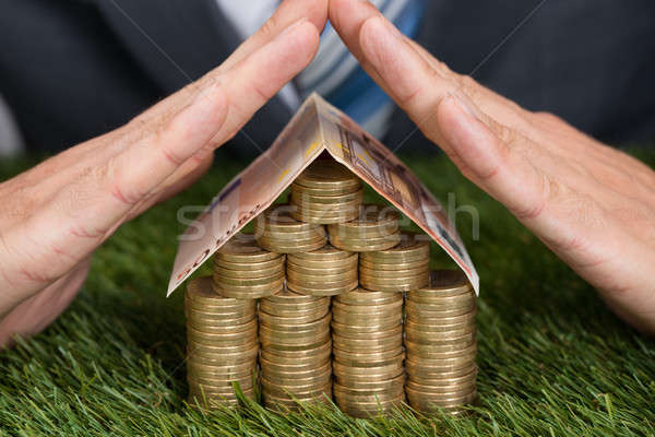 Businessman Shielding House Of Coins And Euro Note On Grass Stock photo © AndreyPopov