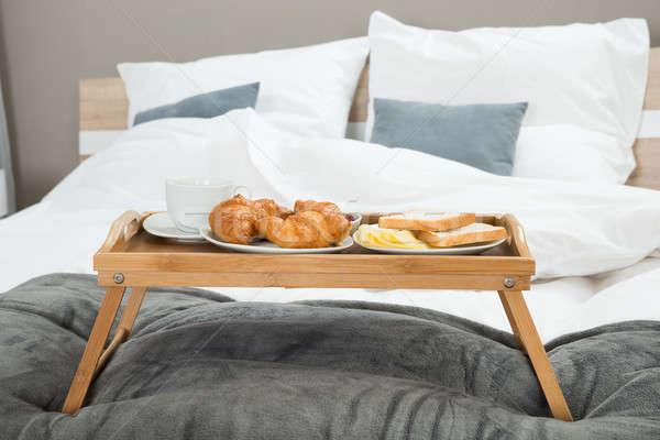 Frühstück Tabelle Fach lecker Holztisch Essen Stock foto © AndreyPopov
