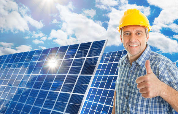 Mature Man With Solar Panel Stock photo © AndreyPopov