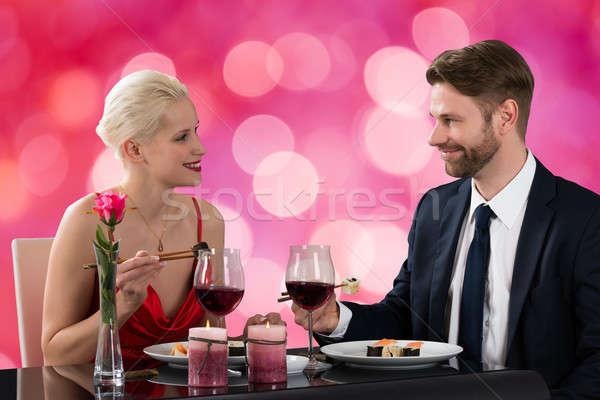 çift yeme sushi akşam yemeği portre genç Stok fotoğraf © AndreyPopov