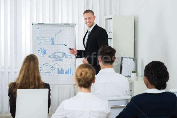 üzletember magyaráz üzlet diagram kollégák fiatal Stock fotó © AndreyPopov