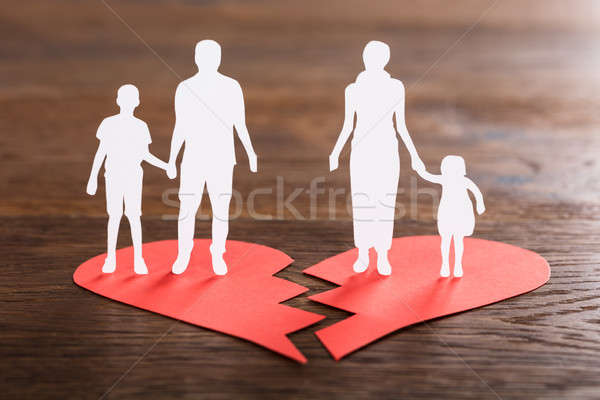 Family Paper Cut On Broken Heart Stock photo © AndreyPopov