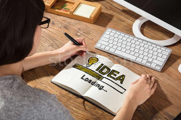 Stock fotó: üzletasszony · rajz · ötlet · notebook · jegyzet · könyv