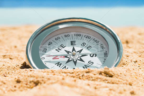 Magnetic Silver Compass On Sand Stock photo © AndreyPopov