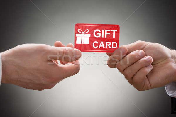 Dos manos tarjeta de regalo primer plano gris Foto stock © AndreyPopov