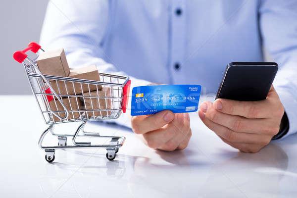 Сток-фото: человека · кредитных · карт · торговых · онлайн · стороны