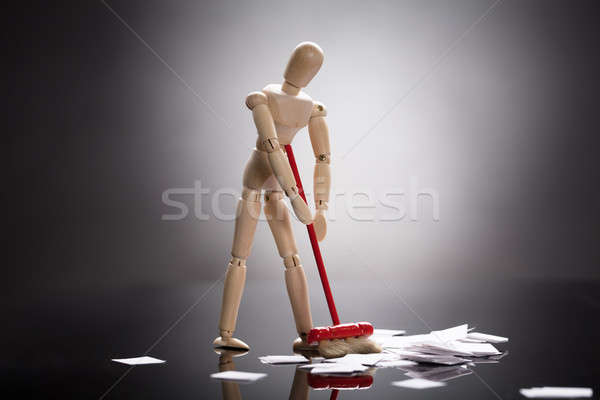 Wooden Dummy Figure Cleaning Floor Stock photo © AndreyPopov