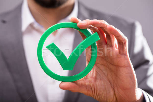 Businessperson Holding Check Mark Icon Stock photo © AndreyPopov
