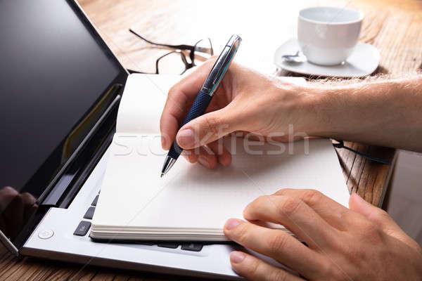 Hand schrijven zwarte notebook pen Stockfoto © AndreyPopov