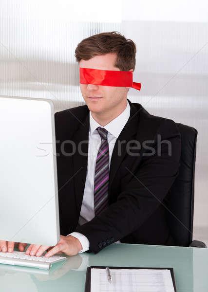 Portrait of Blindfold businessman Stock photo © AndreyPopov