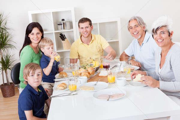 Сток-фото: счастливая · семья · завтрак · вместе · счастливым · семьи
