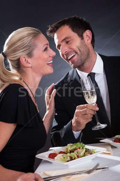 Romantik çift restoran oturma akşam yemeği zarif Stok fotoğraf © AndreyPopov
