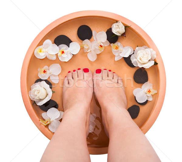 Kadın ayaklar lezzet tedavi spa Stok fotoğraf © AndreyPopov