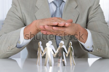 Mâini hârtie oameni unitate alb Imagine de stoc © AndreyPopov