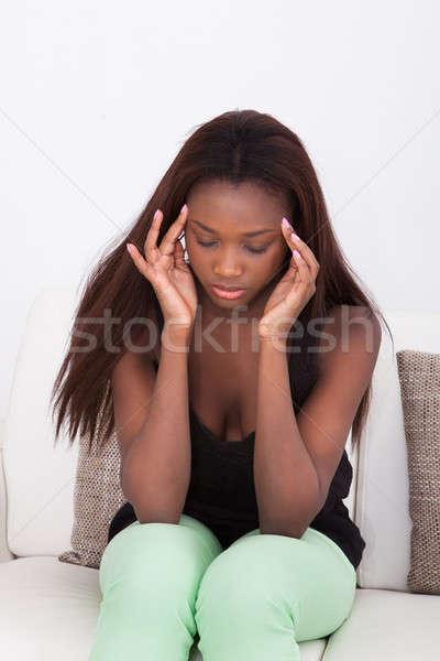 ストックフォト: 女性 · 頭痛 · ホーム · 小さな