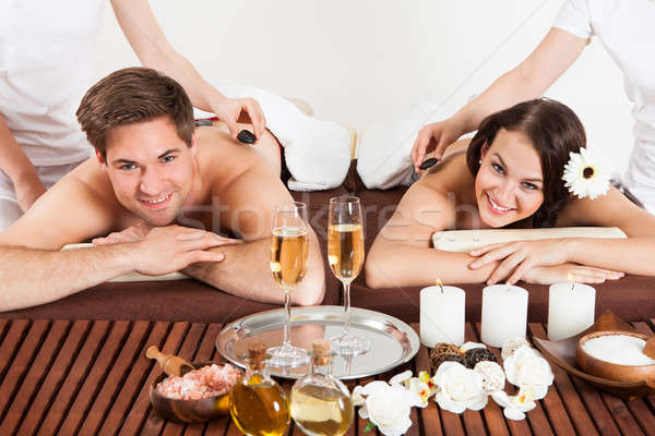 Photo stock: Heureux · couple · épaule · massage · salon · de · beauté · portrait