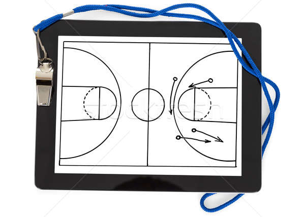 Soccer Tactic Diagram And Whistle On Digital Tablet Stock photo © AndreyPopov