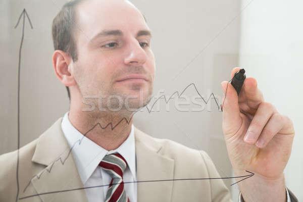 Işadamı çizim grafik cam panel işaretleyici Stok fotoğraf © AndreyPopov