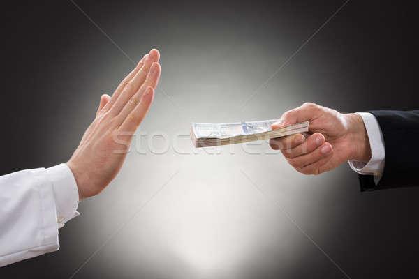 Foto stock: Empresário · oferta · médico · mão · dinheiro