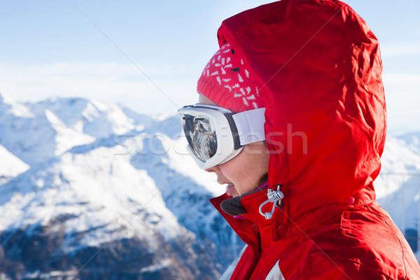лыжник лыжных очки профиль женщины Сток-фото © AndreyPopov