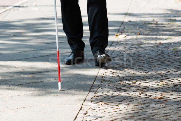 Blind Man With White Stick On Street Stock photo © AndreyPopov