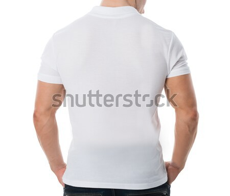 Man Wearing Blank White Tshirt On White Background Stock photo © AndreyPopov
