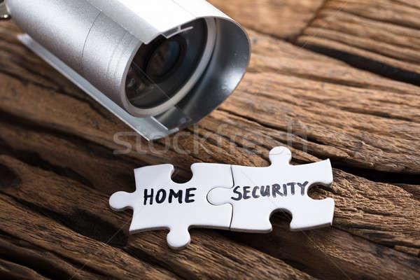Közelkép otthon biztonság fűrész darabok biztonsági kamera Stock fotó © AndreyPopov