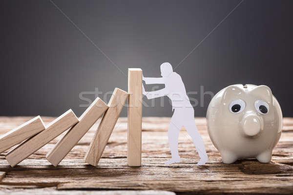 Papier man houten domino blokken Stockfoto © AndreyPopov