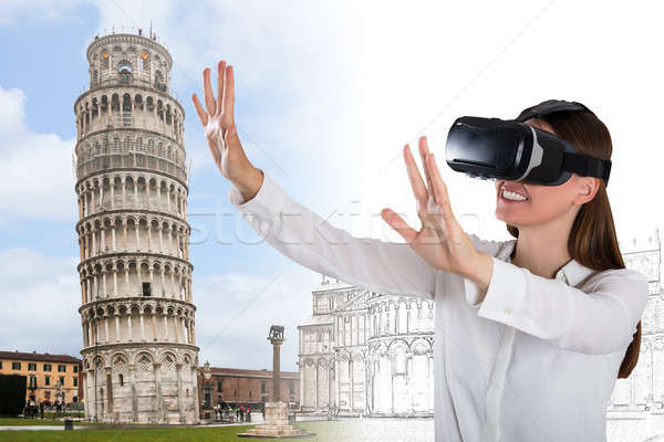 Сток-фото: улыбаясь · виртуальный · реальность · очки