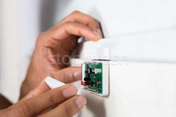 Techniker Sicherheit Tür Sensor Stock foto © AndreyPopov