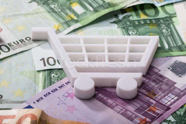 Winkelwagen euro bankbiljetten witte winkelen Stockfoto © AndreyPopov
