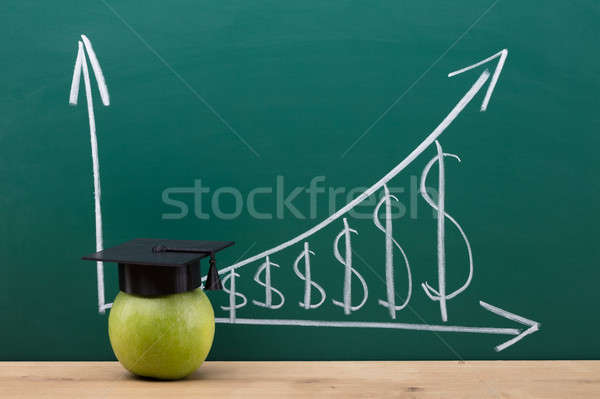 Green Apple With Graduation Hat In Classroom Stock photo © AndreyPopov