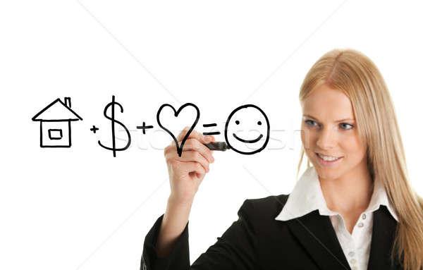 幸福 式 女性 ペン 図面 ストックフォト © AndreyPopov