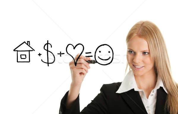 Geluk formule vrouw pen tekening Stockfoto © AndreyPopov