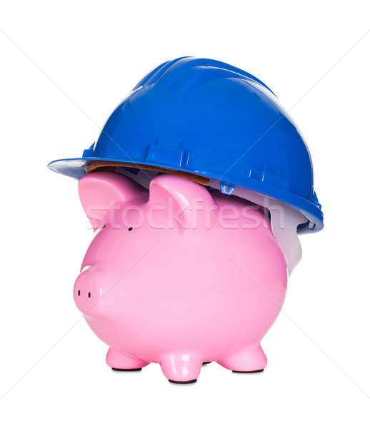 Piggybank wearing construction helmet Stock photo © AndreyPopov